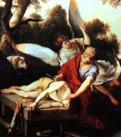Abraham sacrificing Isaac is stopped by an angel